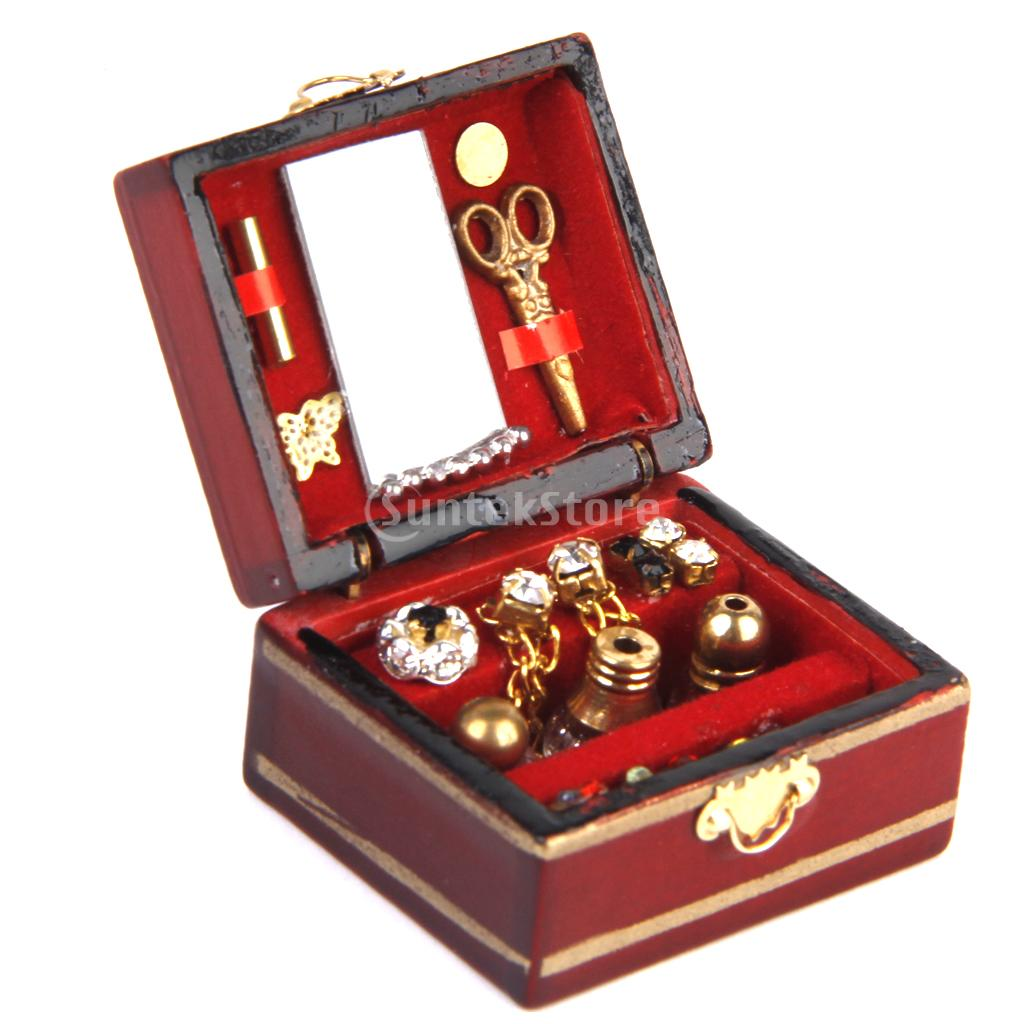 New Arrivals 2015 1/12 Dollhouse Miniature Makeup Cosmetic Box Dressing Case Free Shipping(China (Mainland))