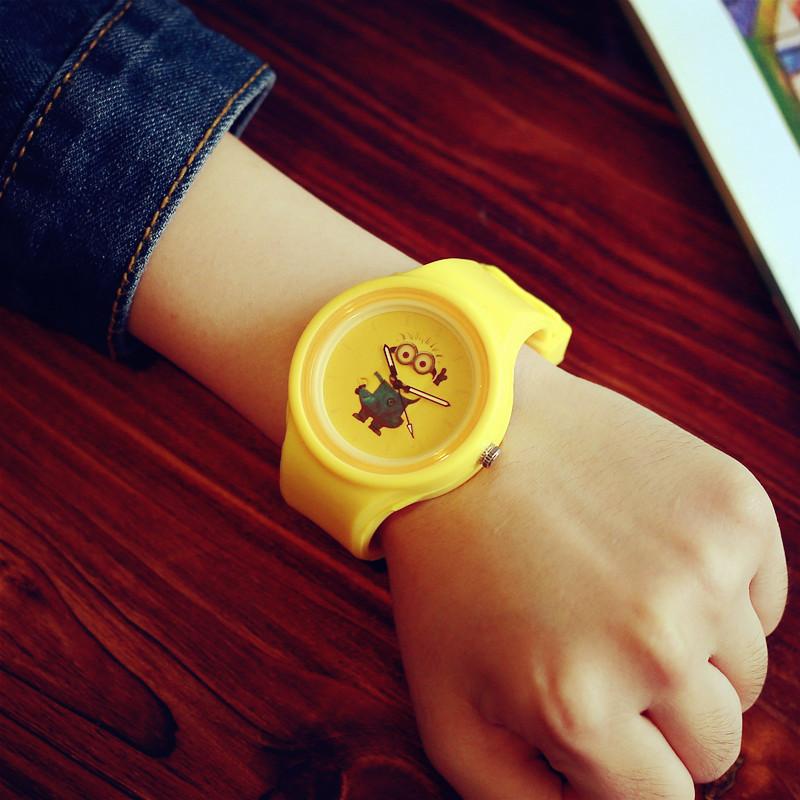 Cute Jelly Minions Doraemon Sakura Momoko Monsters University Mike Silicone Quartz Wrist Watch for Girls Boy Children Students(China (Mainland))