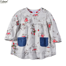 Hot Sale Mini Rodini Brand Kids Top Cute Fashion Girls T Shirt Toddler Baby Girls Clothes Cotton Long Sleeve Tee Shirts