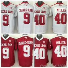 Texas A&M Aggies 40 Von Miller 9 Ricky Seals-Jones College Jersey Embroidery Red white Size M-XXXL(China (Mainland))