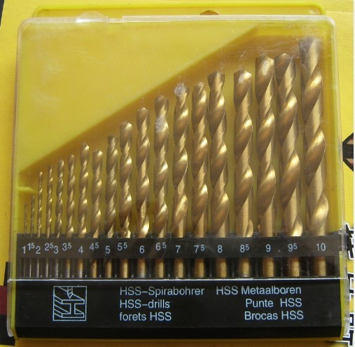 11-10mm HSS-TiN HSS Titanium coated twist drill bit set DIN 338, Hole Boring Bits, Drilling tool kit, - HARDWARE WORLD store