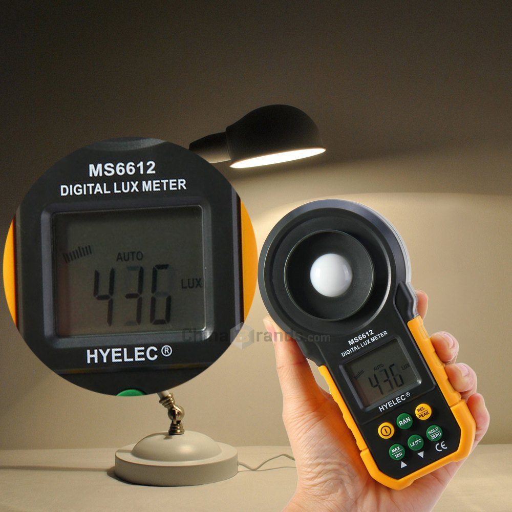 Multifunctional Digital Luxmeter Universal HYELEC MS6612 High Accuracy Lux Light Meter Test Spectra Auto Range(China (Mainland))
