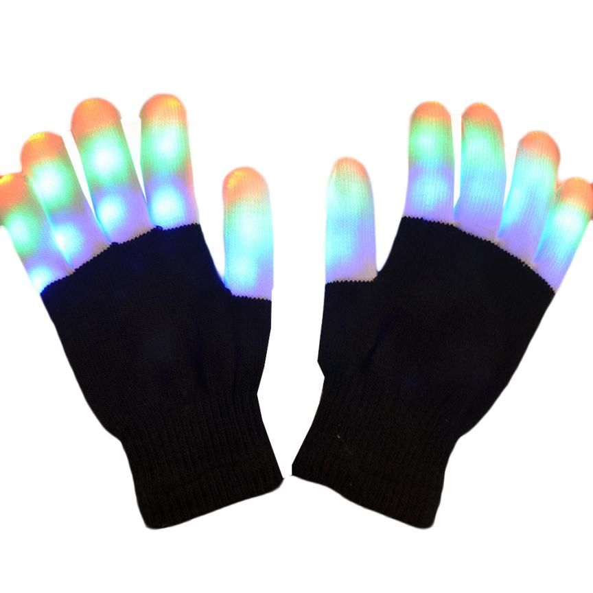SIF Flashing Finger Lighting Gloves LED Colorful Rave Gloves 7 Colors Light Show FEB 06(China (Mainland))
