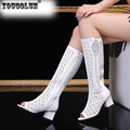 YOUGOLUN Women Summer Boots High Knee Square Heel 6 5cm Rhinestone Peep toe Shoes Y 113
