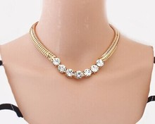 New fashion jewelry clearly crystal chain link choker necklace for Women girl ladies' Gift N1505(China (Mainland))