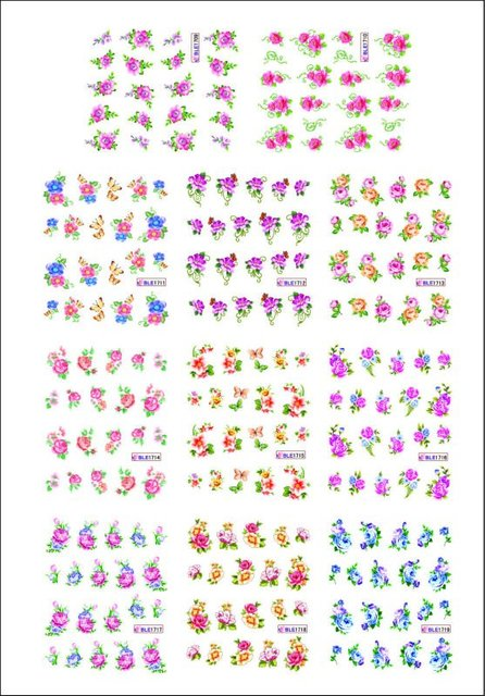 10 sets/lot(110 sheets) Nail Stickers Nail art Water Transfers Decal Feathers Fruit  Flowers Free Shipping