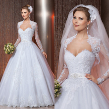 2017 Lace Wedding Dress A-Line Long Sleeve Jacket See Through Back Sweetheart Embroidery Bridal Gown Vestido De Noiva(China (Mainland))