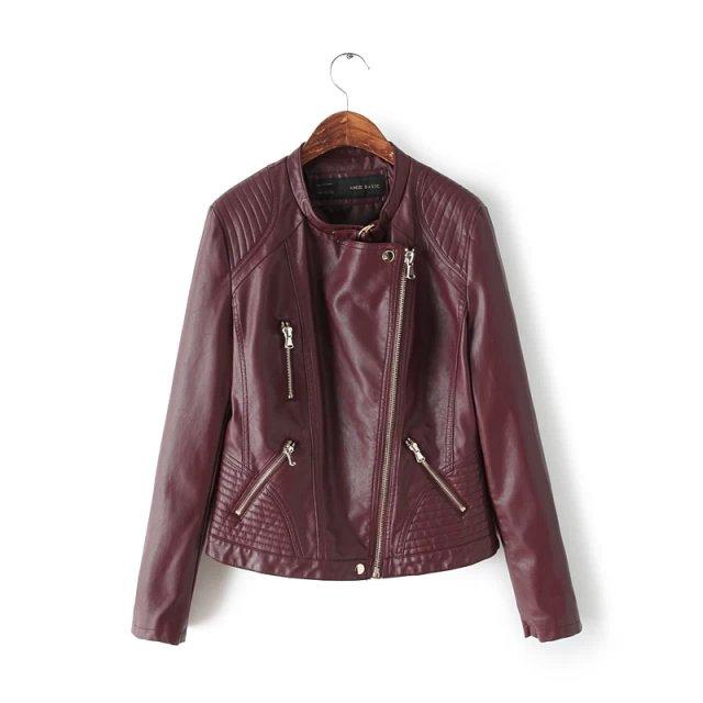 rouge veste en cuir femmes bourgogne couleur filles biker. Black Bedroom Furniture Sets. Home Design Ideas