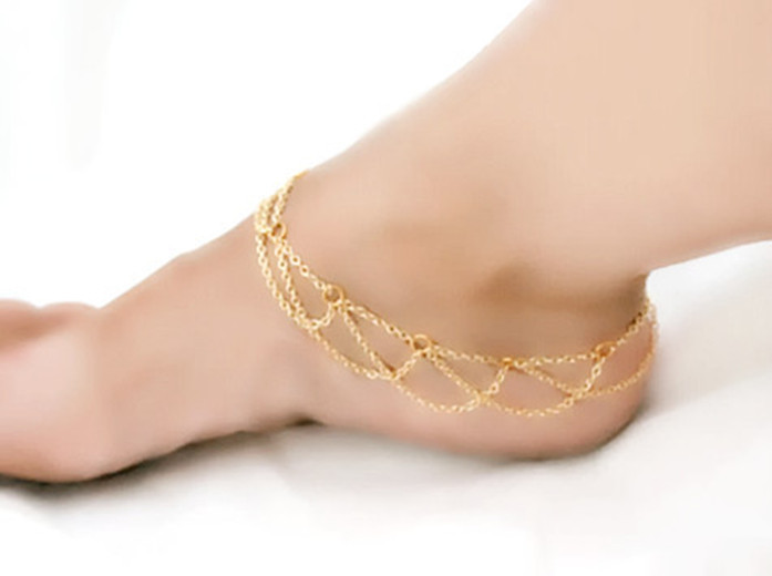 Handmade Gift Charms Fashion Anklets For Women Tassel Gold Plated Dangles Fashion Jewelry Anklets Girls(China (Mainland))