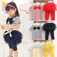 Kid Girl Stripe Bow Top T-shirt + Tutu Skirt Leggings Culottes 2pcs girls clothing set kids suits Outfit Sets Free&Drop Shipping(China (Mainland))