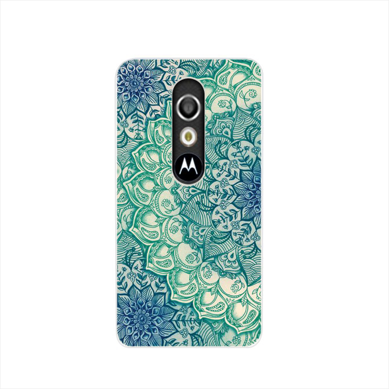 17534 Blue Lotus Pattern Mandala cell phone case cover for For Motorola Moto G3 G4 X+1 PLAY PLUS ONE style(China (Mainland))