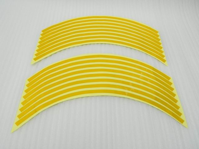 "17"" Yellow Rim Stripe Decal Round Tape For Suzuki GSXR 600 1000 1300(China (Mainland))"