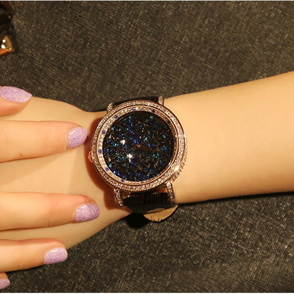 MATISSE Fashion Lady Full Crystal Dial Leather Strap Buiness Quartz Watch Wristwatch - Gold