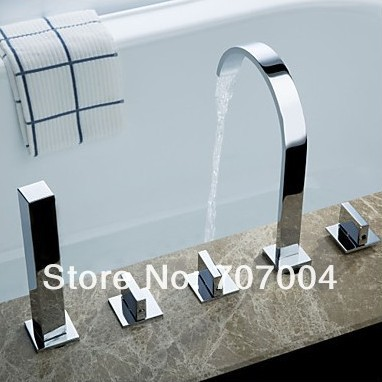 New Chrome Polished 5pcs Widespread Waterfall Roman Deck Mounted Bath Tub Tap