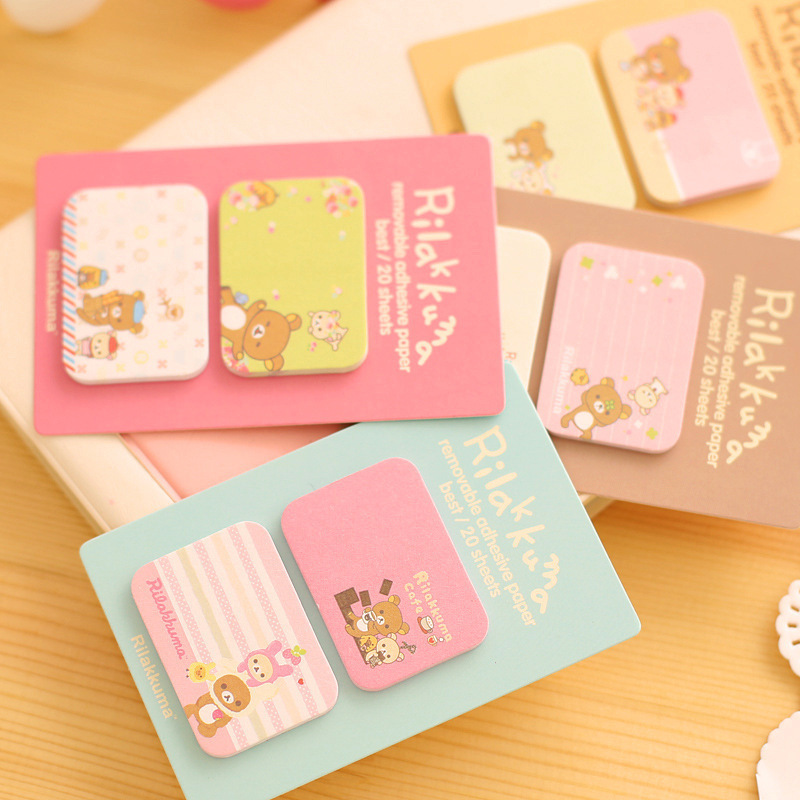 WHOLESALE Cute Memo Sticker Sticky Notes Rilakkuma Girl Kawaii Animal Pads Stationery N Times Posted 1 PC/Lot Say Hi(China (Mainland))