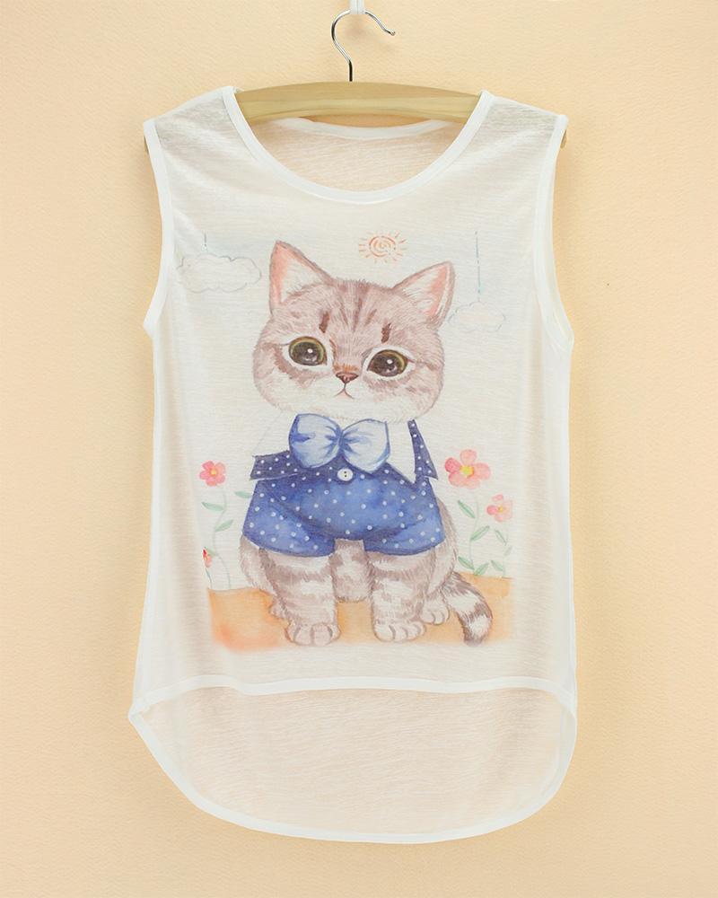 t-shirt sleeveless see through thin soft animal printed children t shirt 2015 summer cool kids cat cheap bamboo cotton tee(China (Mainland))