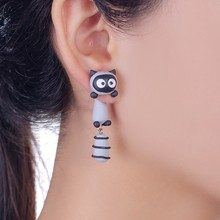 2016 New Design Fashion Cartoon Smile Raccoon Stud Earring 100% Handmade Polymer Clay Cute 3d Animal Earrings For Women(China (Mainland))