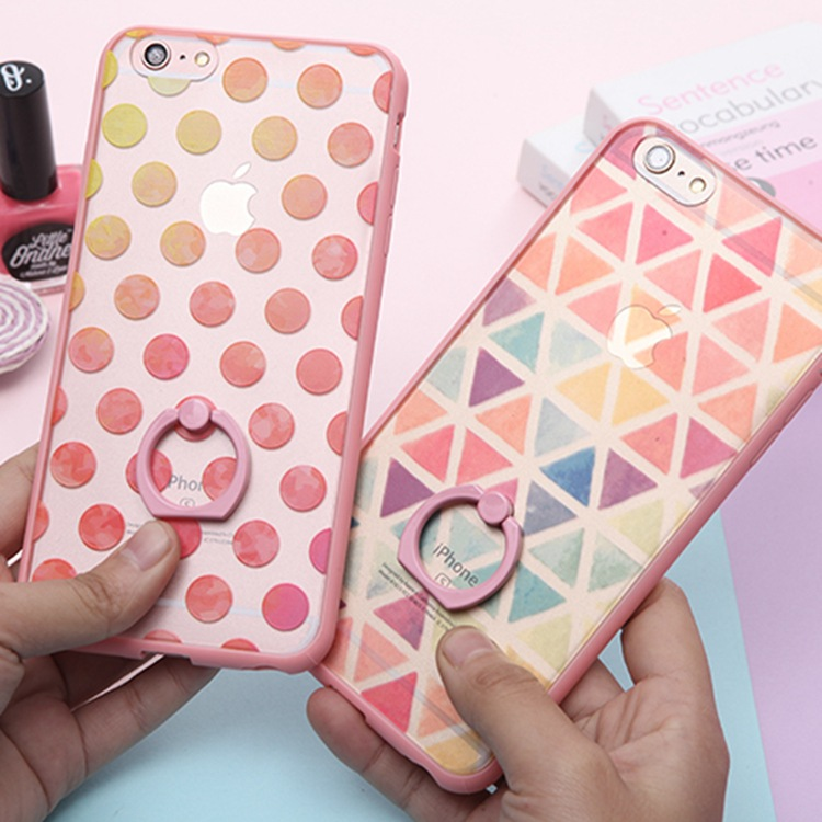 Pink Dots Triangle Ring Stand Phone Back Cover For Apple Iphone 6 6s Plus Case Luxury Fashion Silicone Case(China (Mainland))