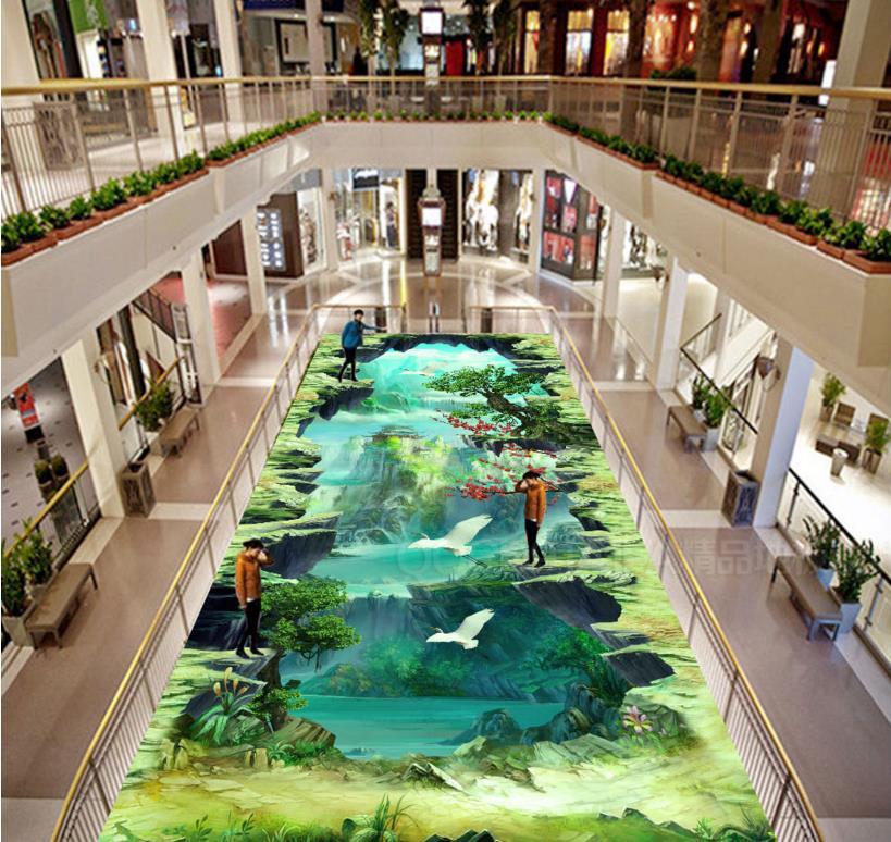 Chinese large 3d flooring landscape wallpaper 3d floor murals PVC waterproof self-adhesive 3D floor painting(China (Mainland))