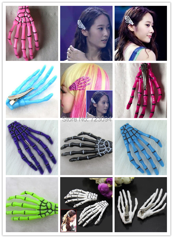 Free Shipping Halloween Party Zombie Skull Skeleton Hand Bone Claw Hairpin Punk Hair Clip For Women Girl JE112(China (Mainland))