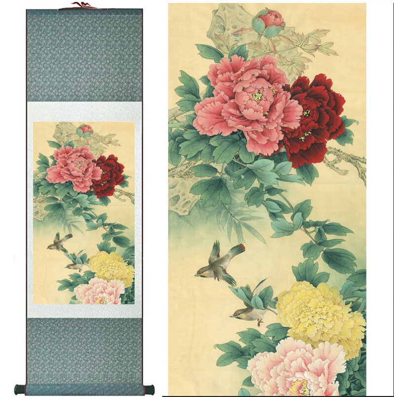 peony Painting Home Office Decoration Chinese scroll painting birds painting peony and birds paintingsPrinted painting(China (Mainland))