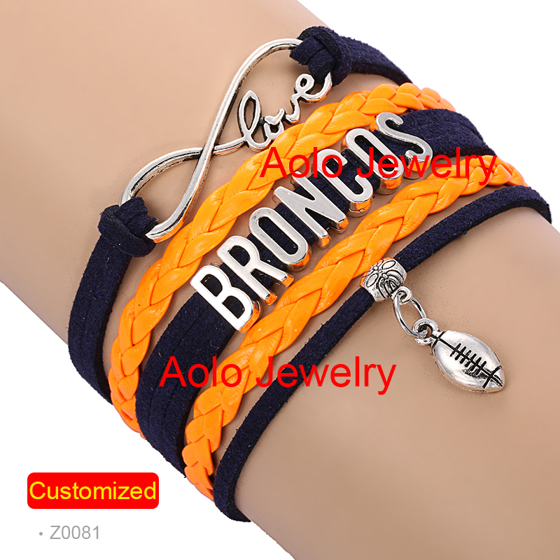 6Pcs/Lot DENVER FOOTBALL Infinity Bracelet NAVY/ORANGE Make Your Own Design Free Shipping #1352(China (Mainland))