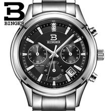 Switzerland BINGER watches men luxury brand Quartz waterproof genuine full stainless steel Chronograph Wristwatches BG6019-M4