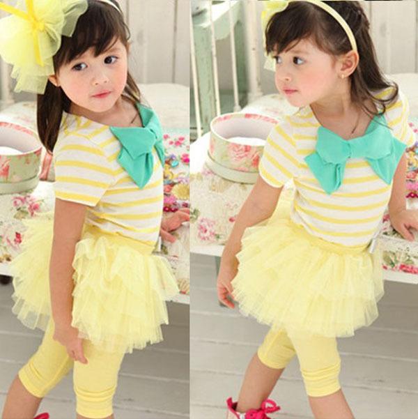 Kids Girl Stripe Bow Top T-shirt + Tutu Skirt Leggings Culottes 2pcs clothes Sets(China (Mainland))