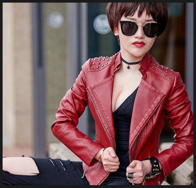 2016 NEW Rivet Motorcycle Pu Leather Jackets Woman Fashion Streetwear Red Black White Jaquetas De Couro Femininas(China (Mainland))