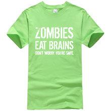 Hommes T-shirts Zombies manger cerveau imprimé 2019 été décontracté drôle marque-vêtements T-shirt pour hommes vêtements de sport T-shirt haut harajuku(China)