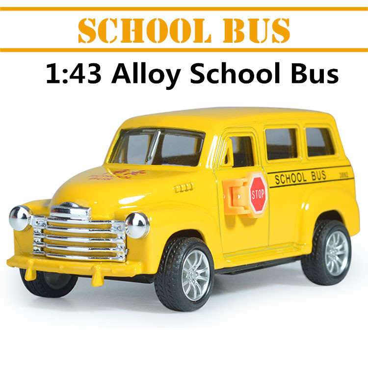 1:43 alloy car models, high simulation school bus with pull back,Children's educational toys free shipping(China (Mainland))