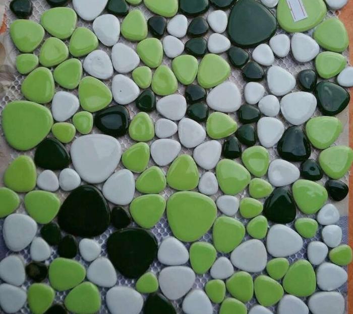 Pebble tiles bathroom floor - Nice Green Pebble Ceramic Mosaic Tiles Bathroom Wall And Floor Tiles