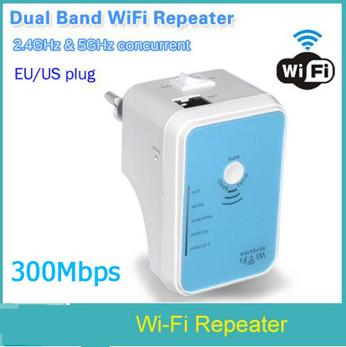 2015 Dual Band WiFi Repeater Wlan 300Mbps Router Signal Boosters WPS Function 2.4G&5G Wireless 300M Wi fi Repeater Power Switch(China (Mainland))