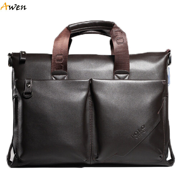 Awen hot sell brand POLO large leather mens handbag,high quality casual business man bag with front pocket,big mens laptop bag(China (Mainland))