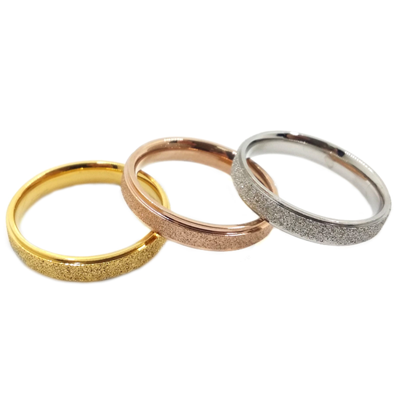 Wholesale Couple Rings Vintage Titanium Cheap Dull Polish Rose Gold Wedding E