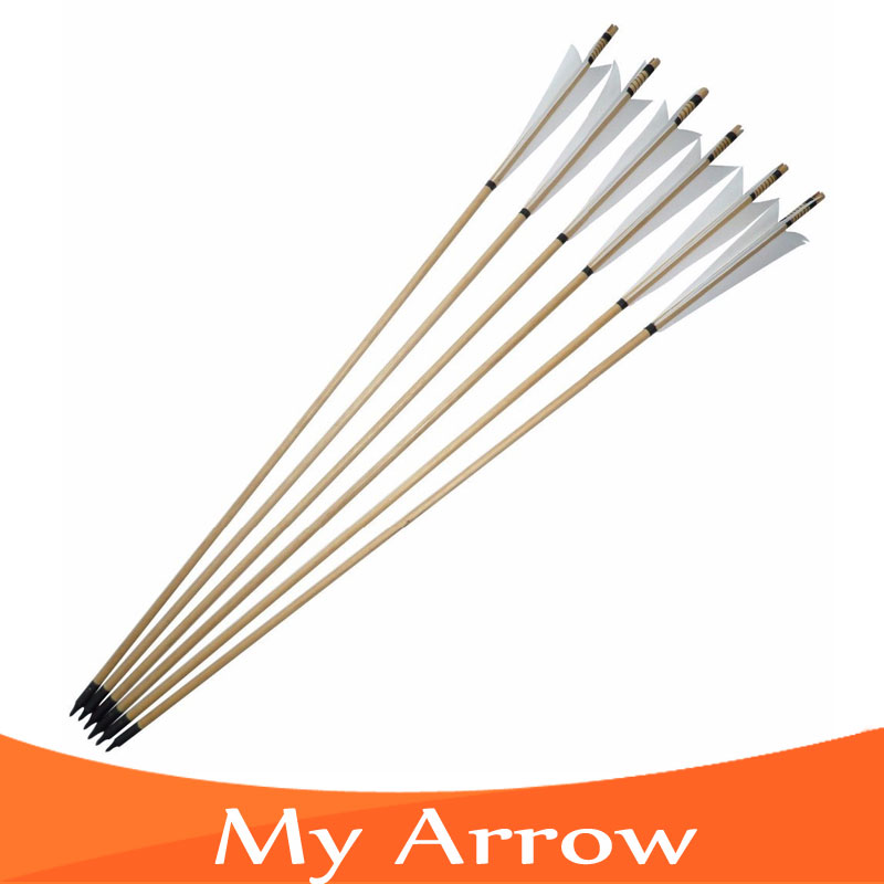 Archery Longbow 80cm Traditional Wooden Arrow White Turkey Feather European Arrow Broadhead For Recurve Bow Archery