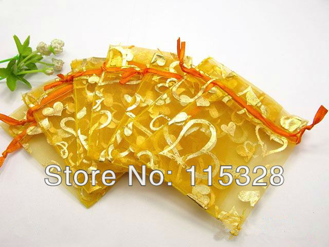 Free Shipping, 500pcs/lot 7x9cm Yellow Heart Christmas / Wedding Voile Gift Bag Organza Bags Jewelry Packing Gift Pouch(China (Mainland))