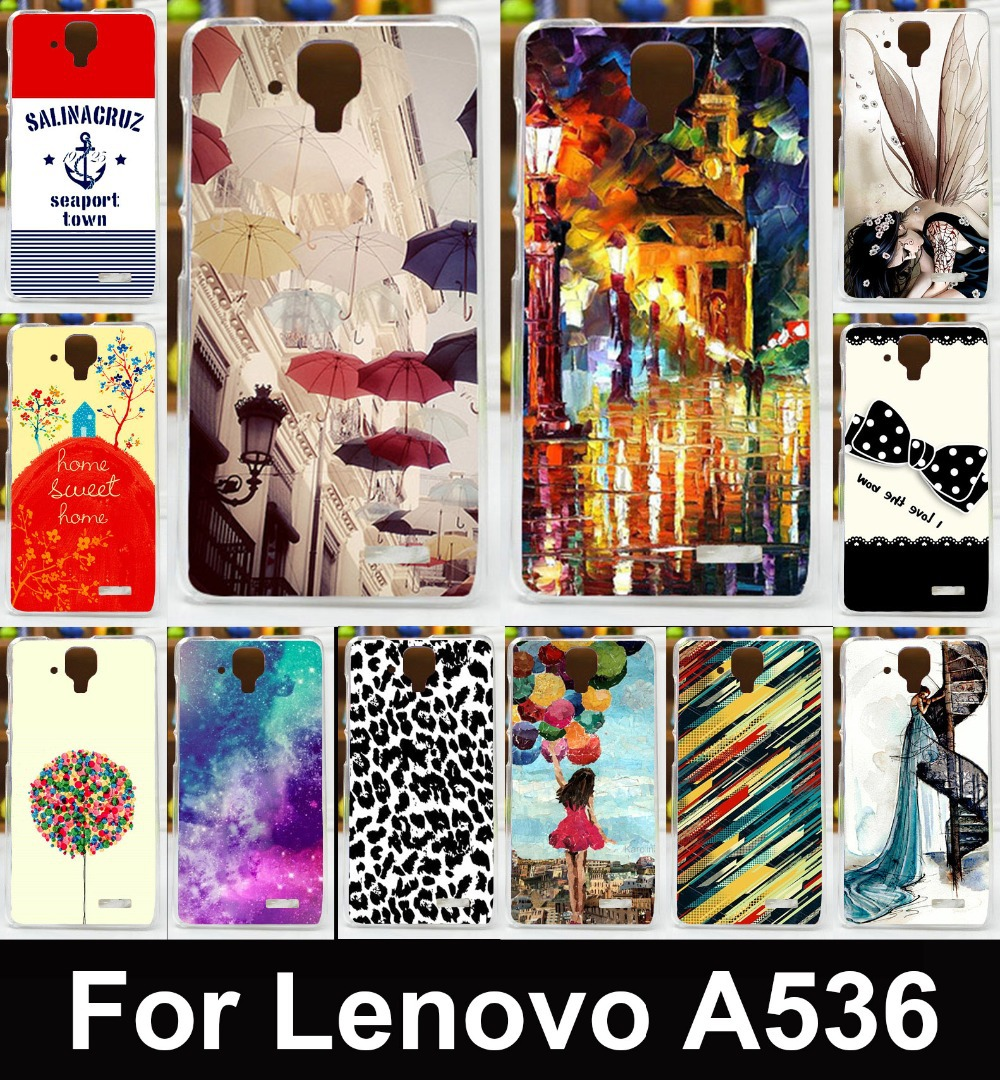 Fashion Lovely Women Girls' Transparent Side Painted cell Mobile Phone Case For Lenovo A536 A358t Back Cover Shell Skin Hood(China (Mainland))