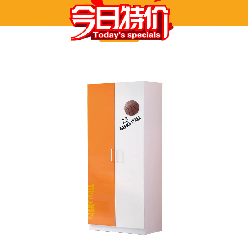 Children's furniture suite bedroom closet simple paint color flat opened the door storage two wardrobe closet 9805(China (Mainland))