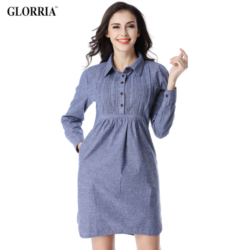 Glorria Women 2017 Long Sleeve Denim Dress Casual Fashion Short Dresses Lady Spring Autumn Turn-down Collar Blue Jeans Vestidos(China (Mainland))