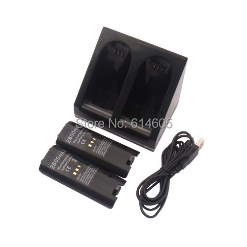 Black Charger Dock Station + 2 Battery Packs for Nintendo Wii Remote Controller(China (Mainland))