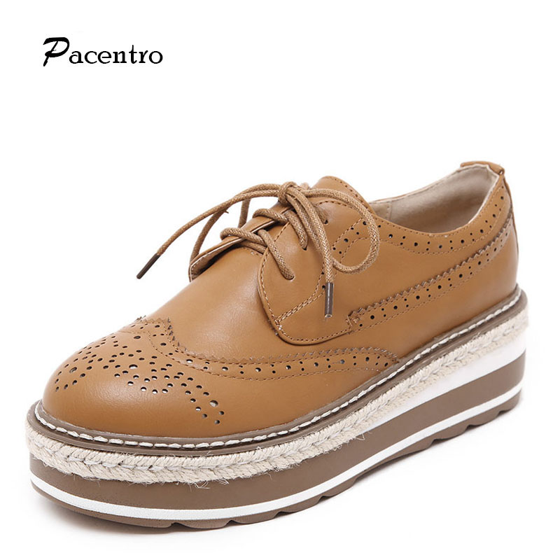 2016 PACENTO Summer Women Platform Shoe Casual Shoes Women Leather Genuine Wedges Flats for Women Shoe Sport Ladies Creepers(China (Mainland))