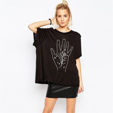 2015 New Punk T Shirt Women Rock High Sreeet Style Palm Print O-Neck Loose Batwing Sleeve Tops Spring Summer Camisetas Mujer