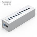 ORICO A3H10 SV Aluminum 10 Ports USB3 0 HUB High Speed 5Gbps Splitter with 12V Power