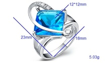 Big Red Blue Purple Crystal Engagement Rings for Women CZ Diamond 925 Sterling Silver Jewelry Ruby