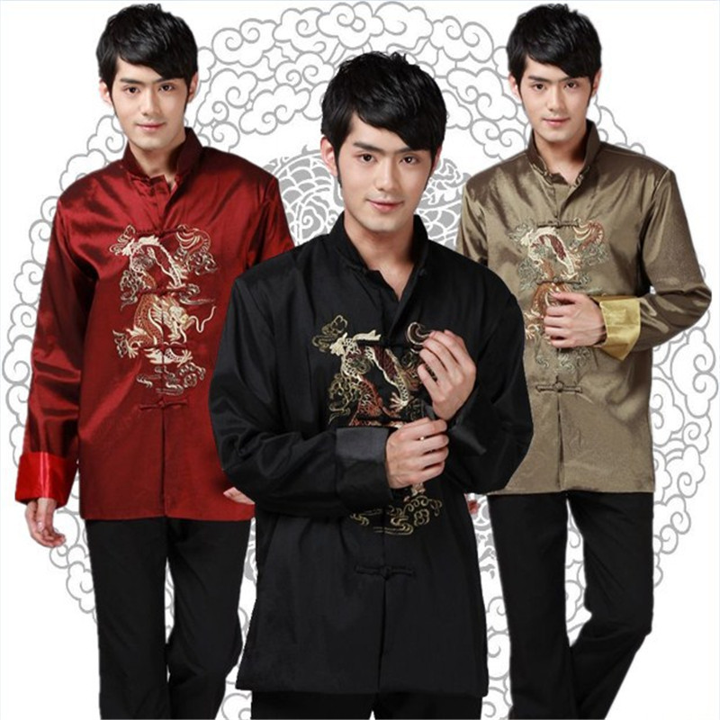 Hot Sale Chinese Traditional Men Clothing Red Silk Dragon Jacket Standard Collar Long Sleeve Tang Suit Tops Kung Fu Shirts XXXLОдежда и ак�е��уары<br><br><br>Aliexpress