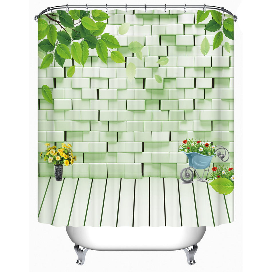 Various Types of Flower Shower Curtain High Quality Bathroom Products Eco-Friendly Waterproof Bath Curtain FJ-082(China (Mainland))