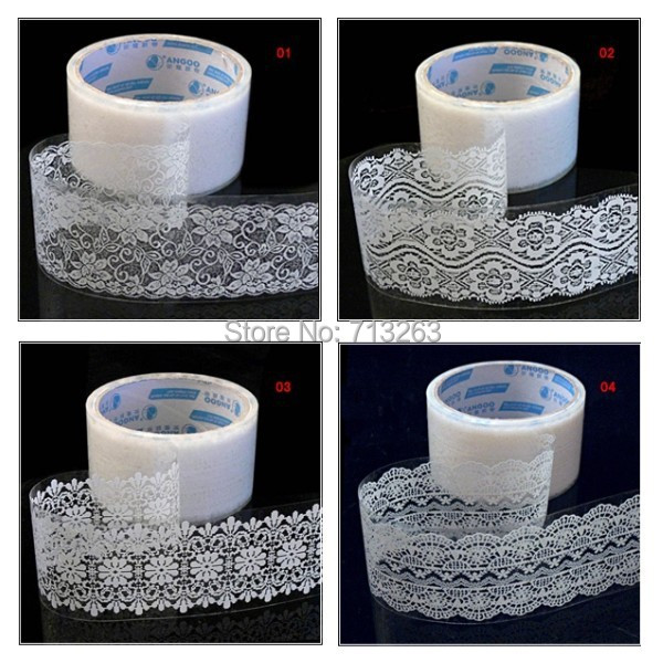 1PCS 15m White and Pink lace sticker tapes PVC Plastic Clear korean decoration stickers, Masking Tape wholesale(China (Mainland))
