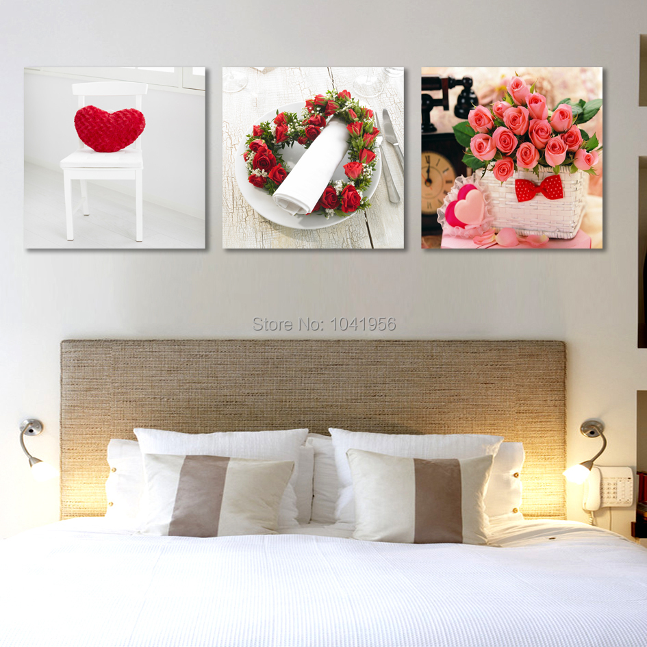 3 panel canvas art red rose canvas painting large wall. Black Bedroom Furniture Sets. Home Design Ideas