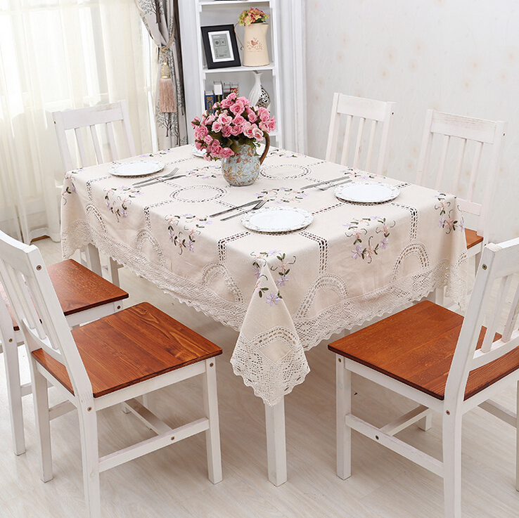 High Quality White Floral Embroidered Tablecloth Retangular Cotton Lace Tablecloth Handmade Crochet Tafelkleed(China (Mainland))